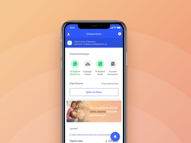Igdas Mobile App new subscription payment mobile design home subscription natural gas ux ui
