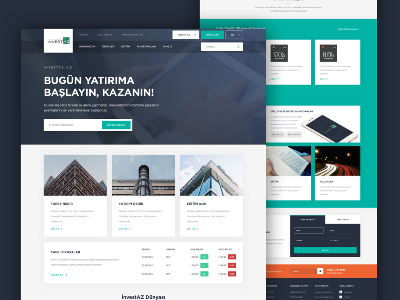 Investaz Forex Homepage forex investments invest design concept web web design ux ui design ui