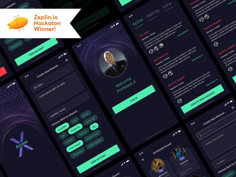 """Professor X App"" for Zeplin.io Hackathon Challange [Winner] hackathon abstract zeplin winner challange mobile app futuristic x-men technology ui design ux ui"