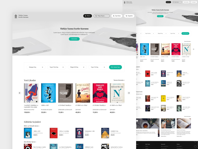 Yek Book Store [E-Commerce Homepage] minimal home book store e-commerce shop e-commerce store book web design ux design web ui design ux ui