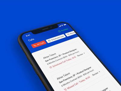 Talent Envoy Mobile App [Calls Screen] schedule call schedule incoming call call interaction card ux design ui design ux ui