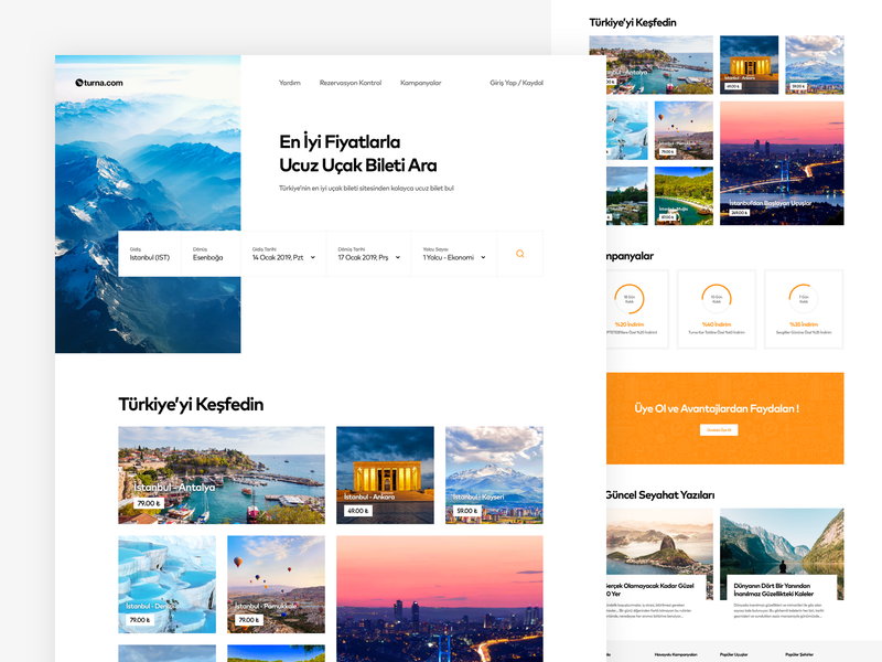 Turna Flight Search Homepage Concept turkey flight search web design concept home travel flight search card ux design web ui design ux ui
