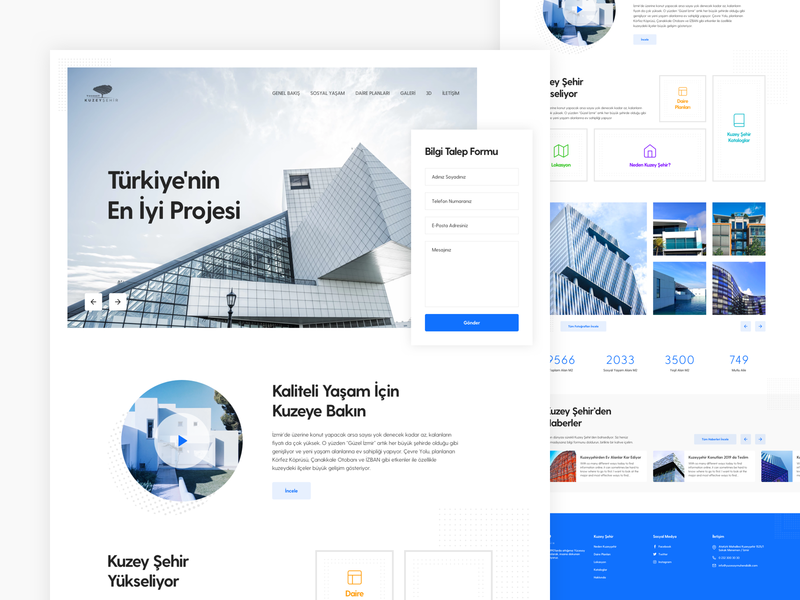 Kuzeyşehir Construction Landing Page fabric construction building house homes architechture landing page concept home web design ux design web ui design ux ui