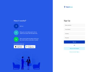 Recruiter Dashboard Web Sign Up