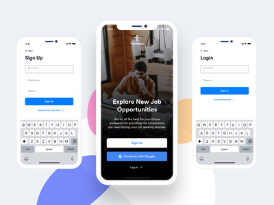 TalentEnvoy - Candidate App Welcome & Sign Up Screens iphone x mobile app sign up page mobile app welcome page login page mobile app design ux design ui design ux ui
