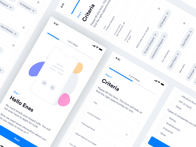 TalentEnvoy - Candidate App Onboard - Info & Criteria Screens form elements mobile form form mobile app illustration user experience design mobile app experience welcome criteria illustration mobile app design home ux design ui design ux ui