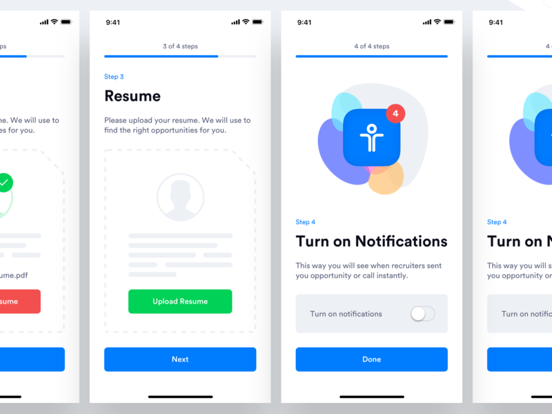 TE - Candidate App - Upload Resume & Notification Permission mobile upload ios notification design mobile app ux design ui design ux ui permission notification resume upload upload resume notification permission