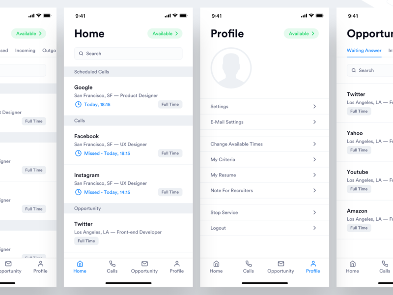 TE - Candidate App - Home, Profile, Calls, Opportunity Page recruitment candidate recruiter mobile call mobile app design call page calls mobile profile page mobile home page home page mobile app home ux design ui design ux ui