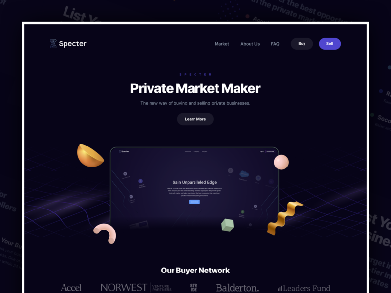 Specter Market data bank ux web design ui design technology header 3d protopie principle marketplace dark interfaces dark mode parallax motion design interaction design desktop buyers seller buy sell