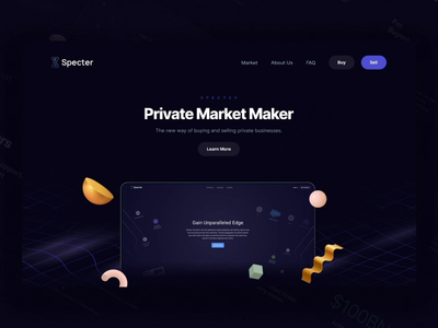 Specter Market Interactions web design ui design ux technology seller sell protopie principle parallax motion design marketplace interaction design header desktop data bank dark mode dark interfaces buyers buy 3d