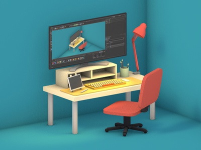 My working space--C4D practicing lowpolyart c4d