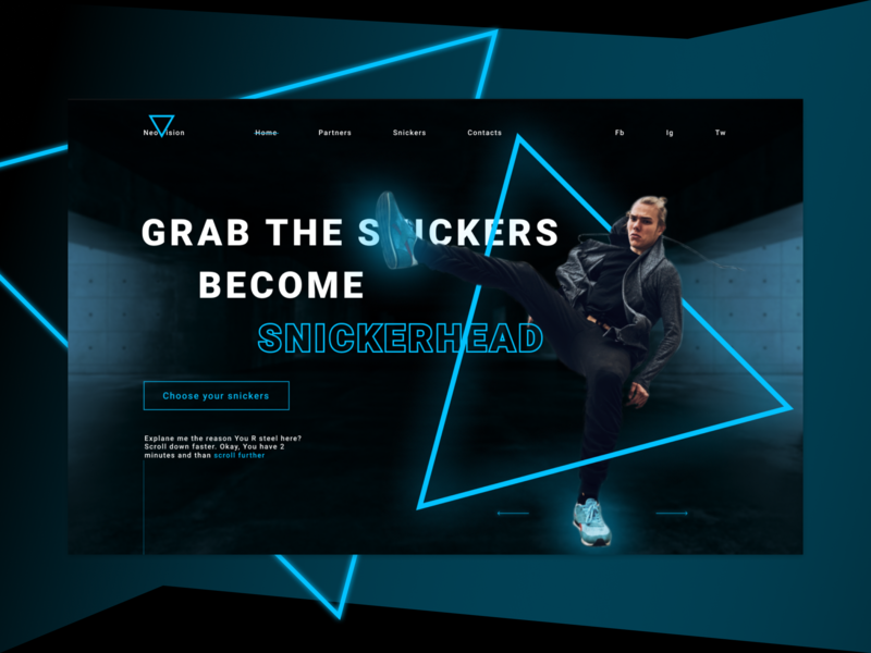 Snickers shop promo concept brutalism dark neon blue neon snickers ux webdesign web ui  ux design ui uidesign design concept