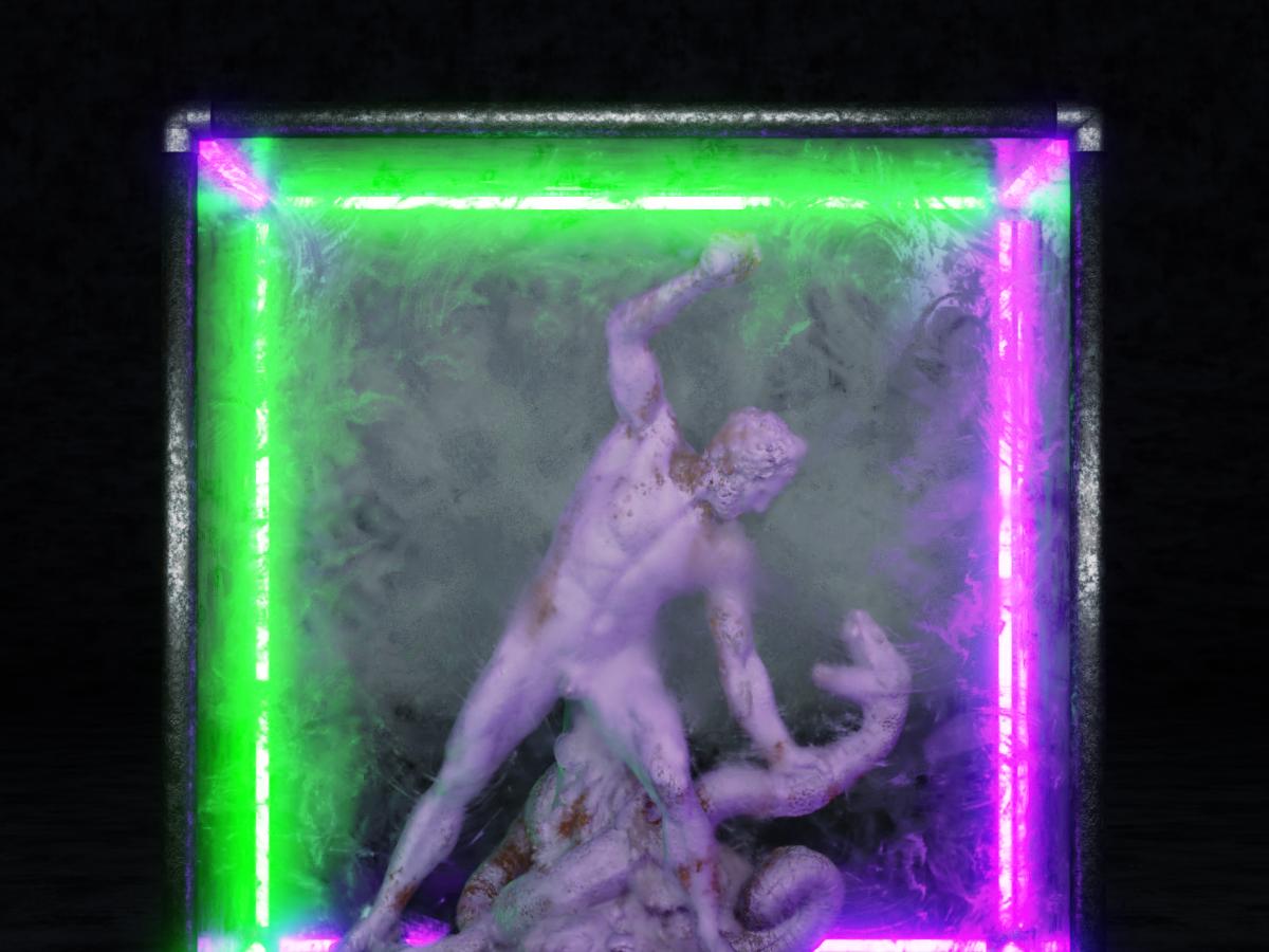 Homem lutrando contra seus demônios dentro de si. archelous cour marly louvre hercules snake museum statue purple green cage match cube light fight neon design blender3d artwork art