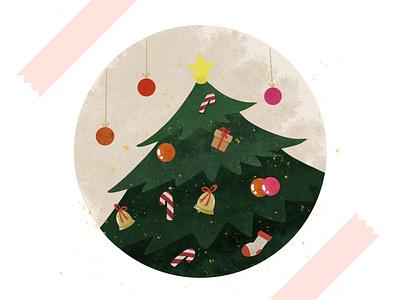 Christmas tree christmas holiday branding minimal flat procreate illustration