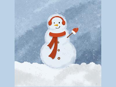 Snowman snowman winter design minimal flat procreate illustration