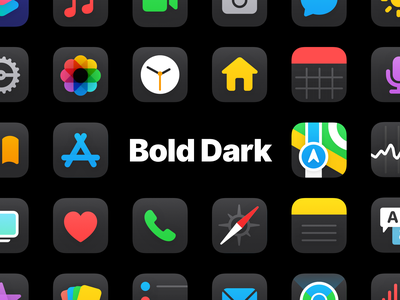 Bold Dark (iOS 14 Icon Set) custom icons icon set icon pack home screen redesign ios ios 14 aesthetic aesthetics
