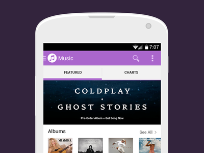 iTunes for Android apple itunes android concept ui flat