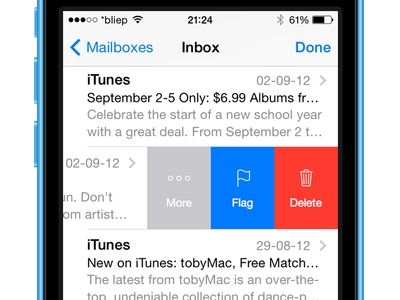 iOS 8 Mail Swipeview ios concept redesign mockup ux
