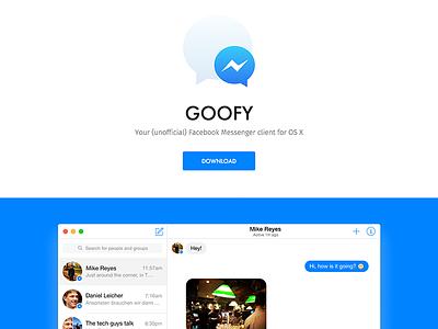 Goofy 2.0 Website web design goofy app site website messenger facebook