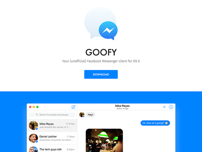 Goofy 2.0 Website web design goofy app site website messenger facebook