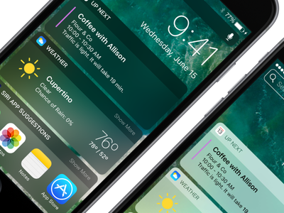 Dark iOS 10 Widgets/Notifications dark mode dark notifications widgets concept ios 10