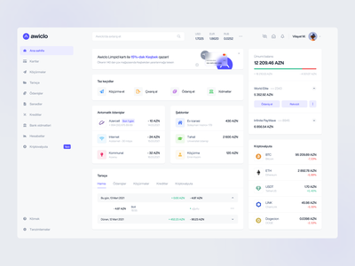 Awiclo - Online Banking Dashboard Design cashback home page balance payment clean dashboard banking purple user interface user experience design ux ui web app bank app bank