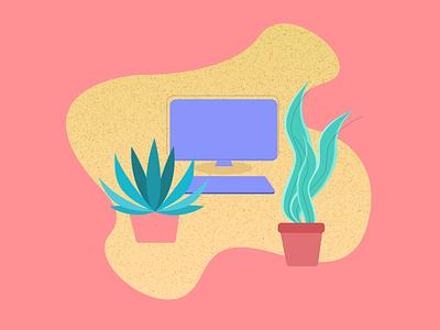 """At Work"" graphic design vector art web illustration vector minimal ui design digital illustration"