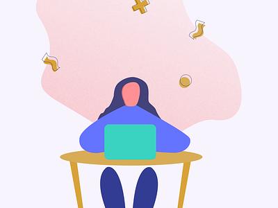 """Hard at Work"" vector art web illustration vector minimal graphic design digital illustration design ui"