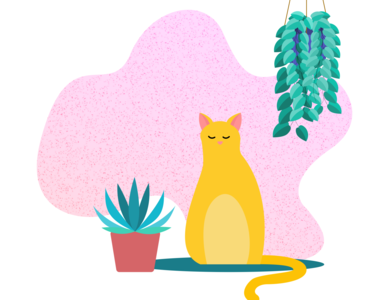 A cat at rest web vector art illustration vector minimal graphic design digital illustration design ui