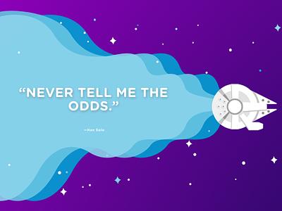Never tell me the odds. web vector art ui minimal illustration graphic design digital illustration design poster quote star wars han solo