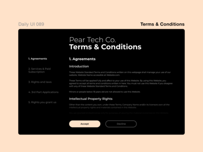 Daily UI 089 - Terms & Conditions