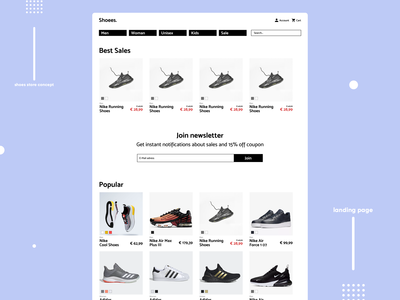 Shoes shop Landing Page concept