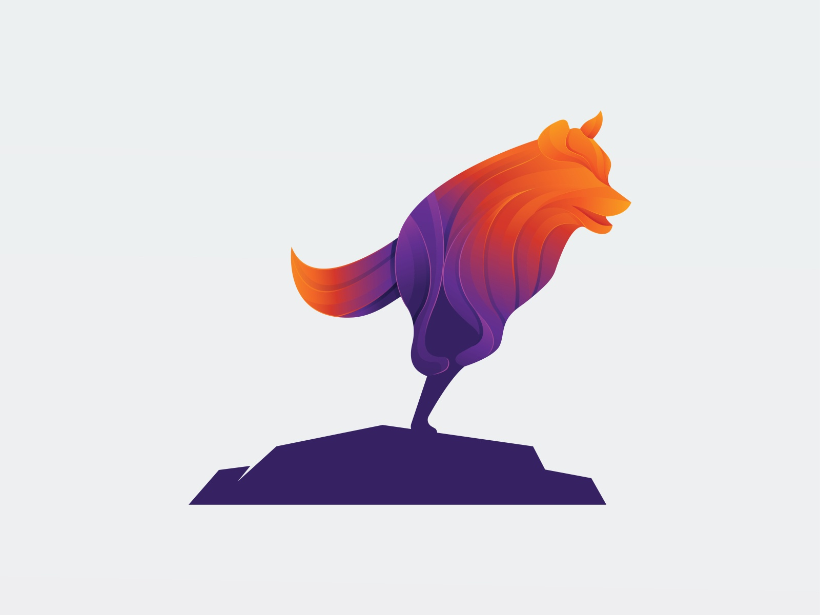 Gradient Purple Orange Wolf Illustration - Logo Design