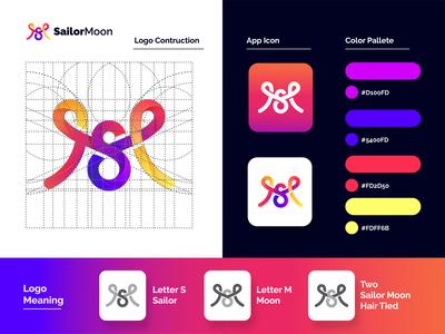 SailorMoon Lettermark Colorful Logo - Branding & Logo Design awesome logo gradient color simple colorful logotype sm m s sailormoon lettermark ambigram monogram minimalist logo branding symbol vector icon design logo