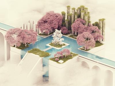 Sky Gardens mograph clouds garden tree nature octane cinema 4d cinema4d 3d