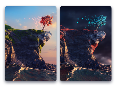 The Sun and the Storm water waves sky saturated illustration nature cinema 4d particles tree landscape 3d