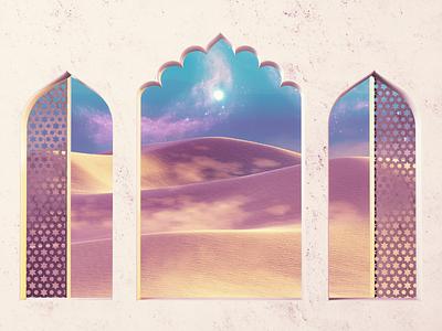 Dunes world magic purple sand saturated sky space desert scene cinema 4d 3d