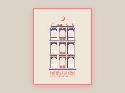 New Orleans Wedding Invite Illustration building poster invite wedding vector architecture