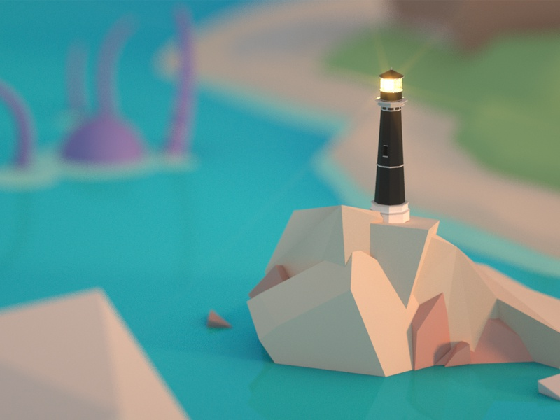 Lighthouse lighthouse water sea scene saturated colorful cinema 4d 3d