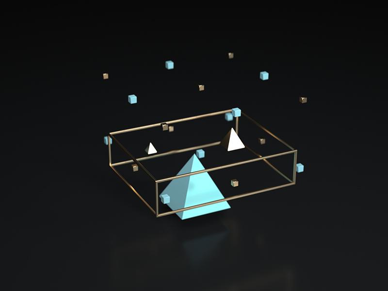 Ornament blue gold objects geometric 3d