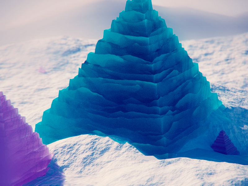 Ice Pyramid graph transparent snow colorful bright 3d
