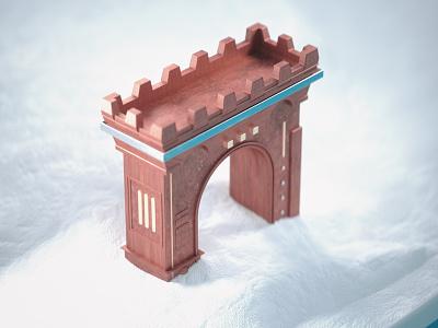 Tiny Archway architecture miniature tilt shift 3d