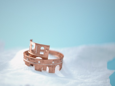 Tiny Colosseum teal snow bronze architecture tilt shift miniature 3d