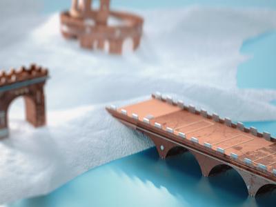 Tiny Bridge copper architecture miniature scene 3d mixed metal