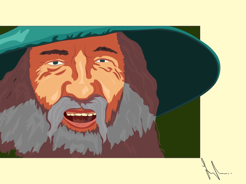 Mithrandir job draw hobbit cartoon art work illustrator tlotr adobbe gandalf
