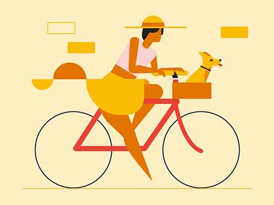 Spring Ting red bike biking girl hat puppy dog yellow spring