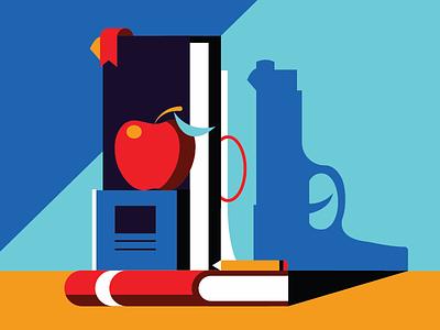 School Violence Prevention red orange blue shadow pencil books apple education gun shooter school