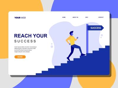 Flat Illustration of Man Running To Reach Success
