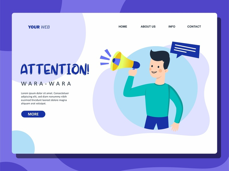 Attention ui landing page flat illustration vector design illustration flat design
