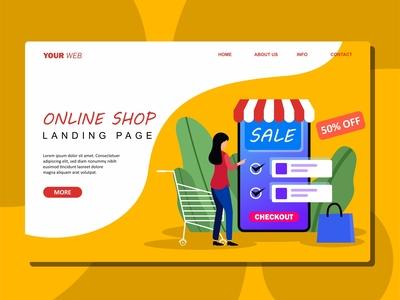 Flat Illustration of Online Shop